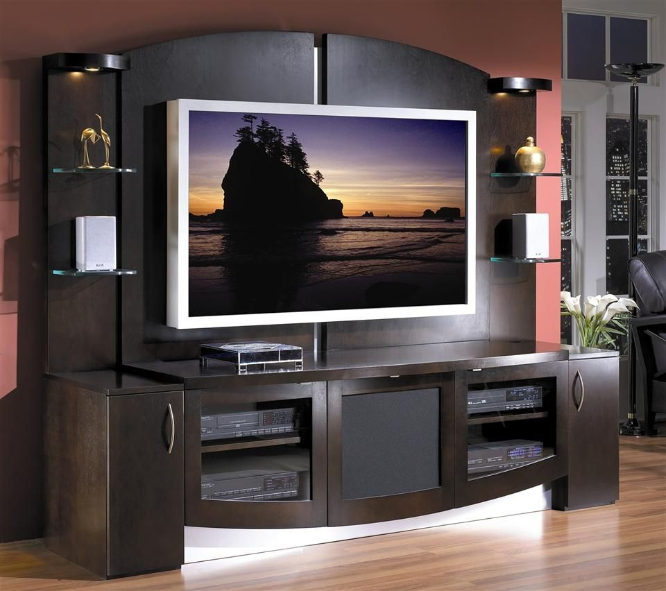 Contemporary Entertainment Center In Espresso  Jazzy