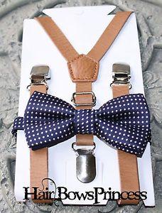 Set Kids Boys Brown Pu Leather Suspenders Navy Blue Wedding Bow Tie 6mon 5y Ebay