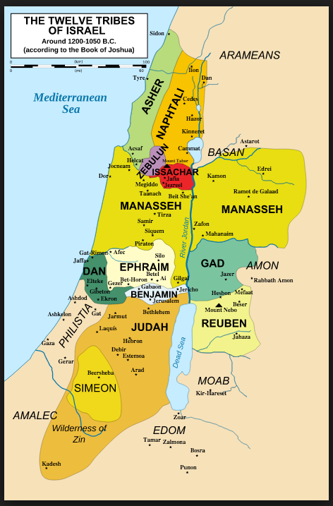 Tribes of Israel around 600 BC | Maps | Pinterest | Israel, 12 ...