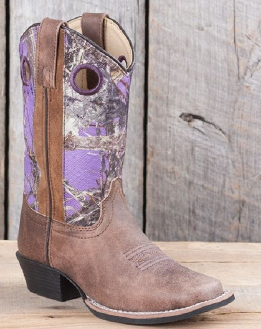 Children S Sq Toe Purple Camo Cowboy Boots Smoky Mountain 3464 Pinterest And