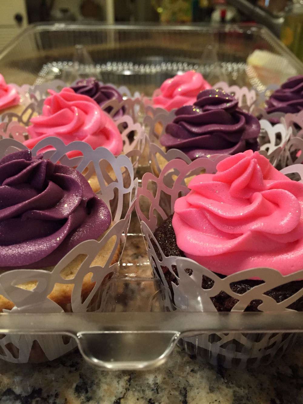 Cupcakes fit for a princess pink purple cupcakes