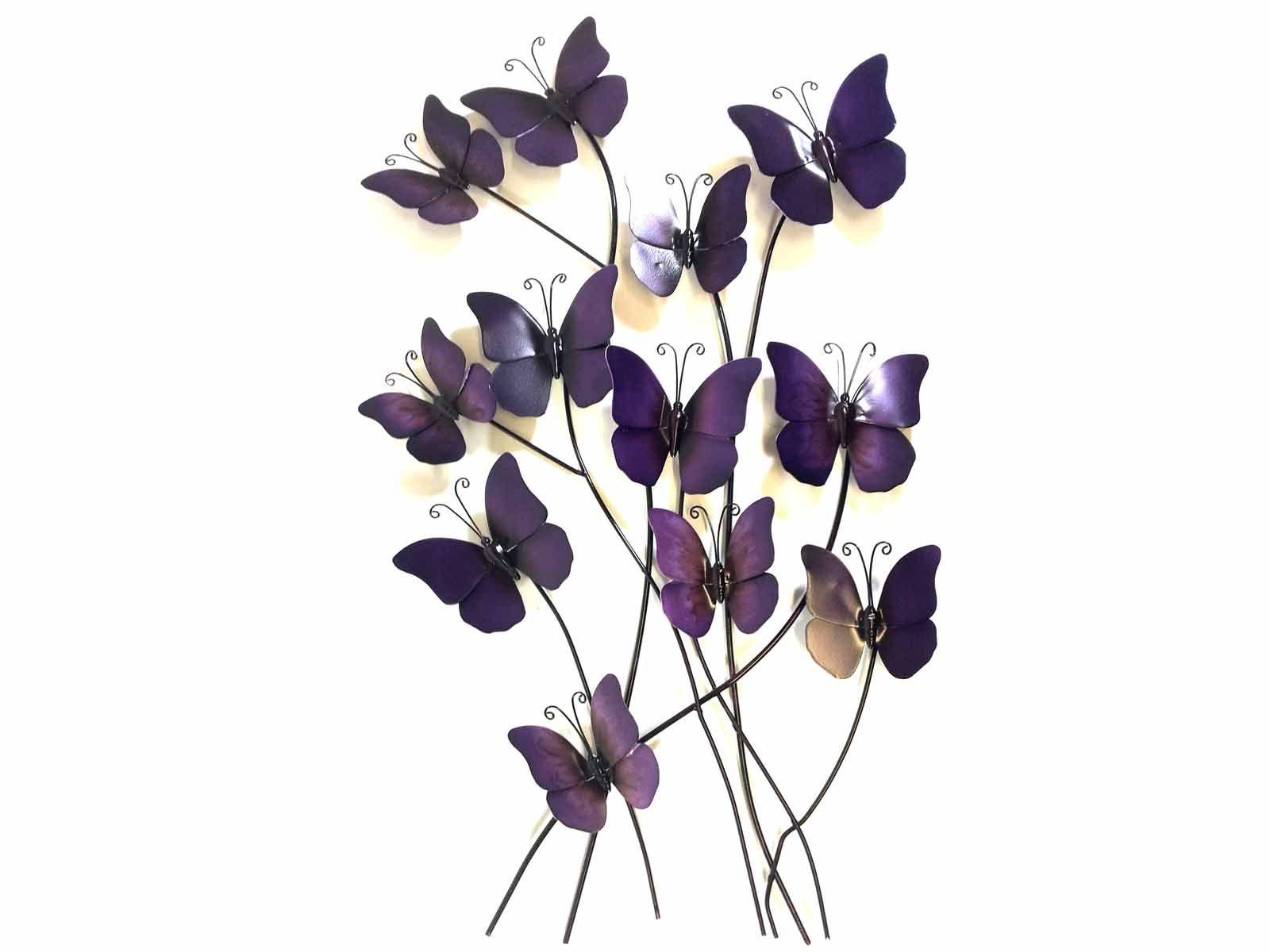 Metal Wall Art   Purple Haze Butterflies