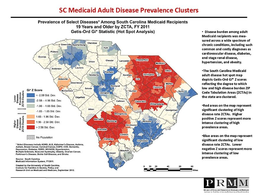 Map depicting prevalence of select diseases among Medicaid recipients ages 19 Years and Older