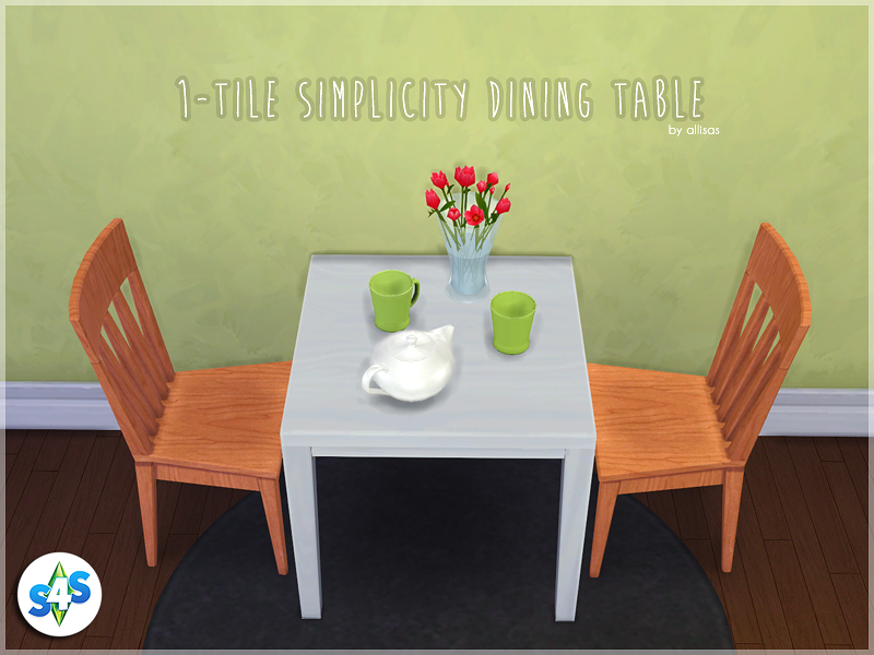 Maxis Match CC For The Sims 4 U2022 Allisas: 1 Tile Simplicity Dining Table