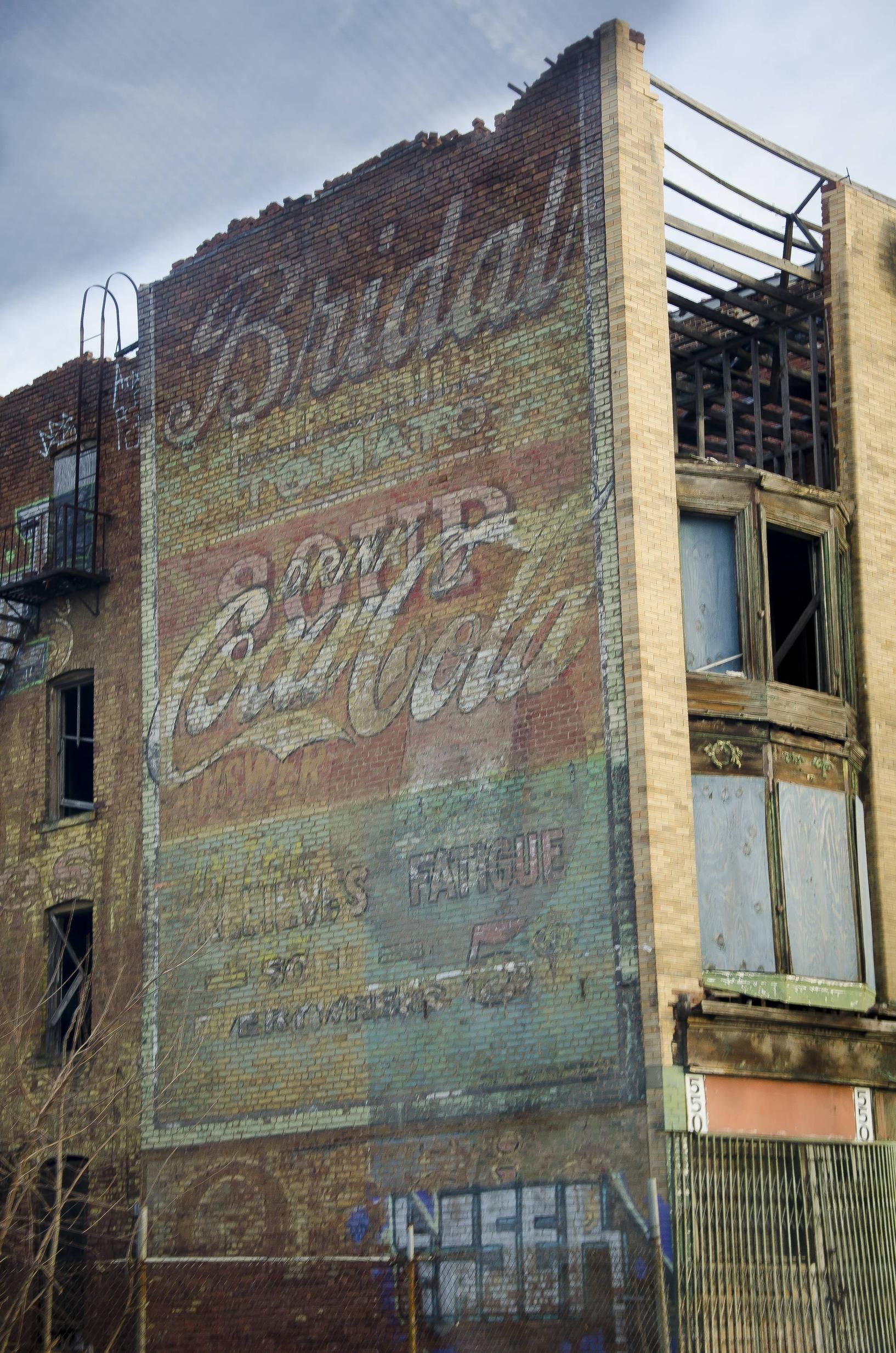 Abandoned Building With Old Advertisements In Newark Nj