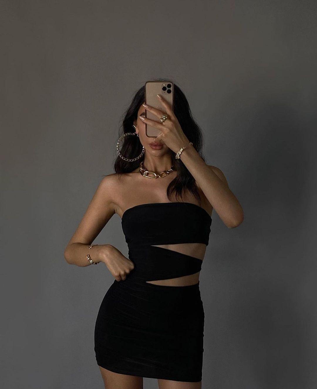 Luxe To Kill Black Slinky Cut Out Bandeau Dress