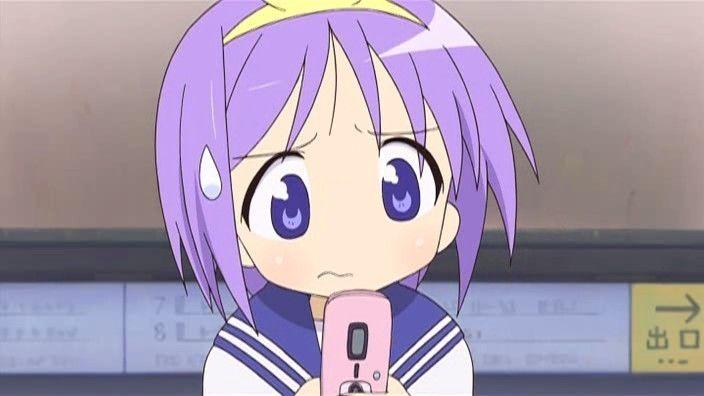 Tsukasa Hiiragi (Lucky Star) on her cell phone.   Anime, Lucky star,  Japanese animation