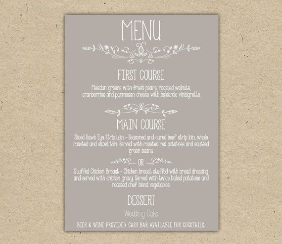 Wedding Menu Dinner Custom Wedding Reception Printable