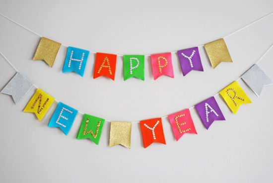 new years eve kids party diy happy new year bunting banner