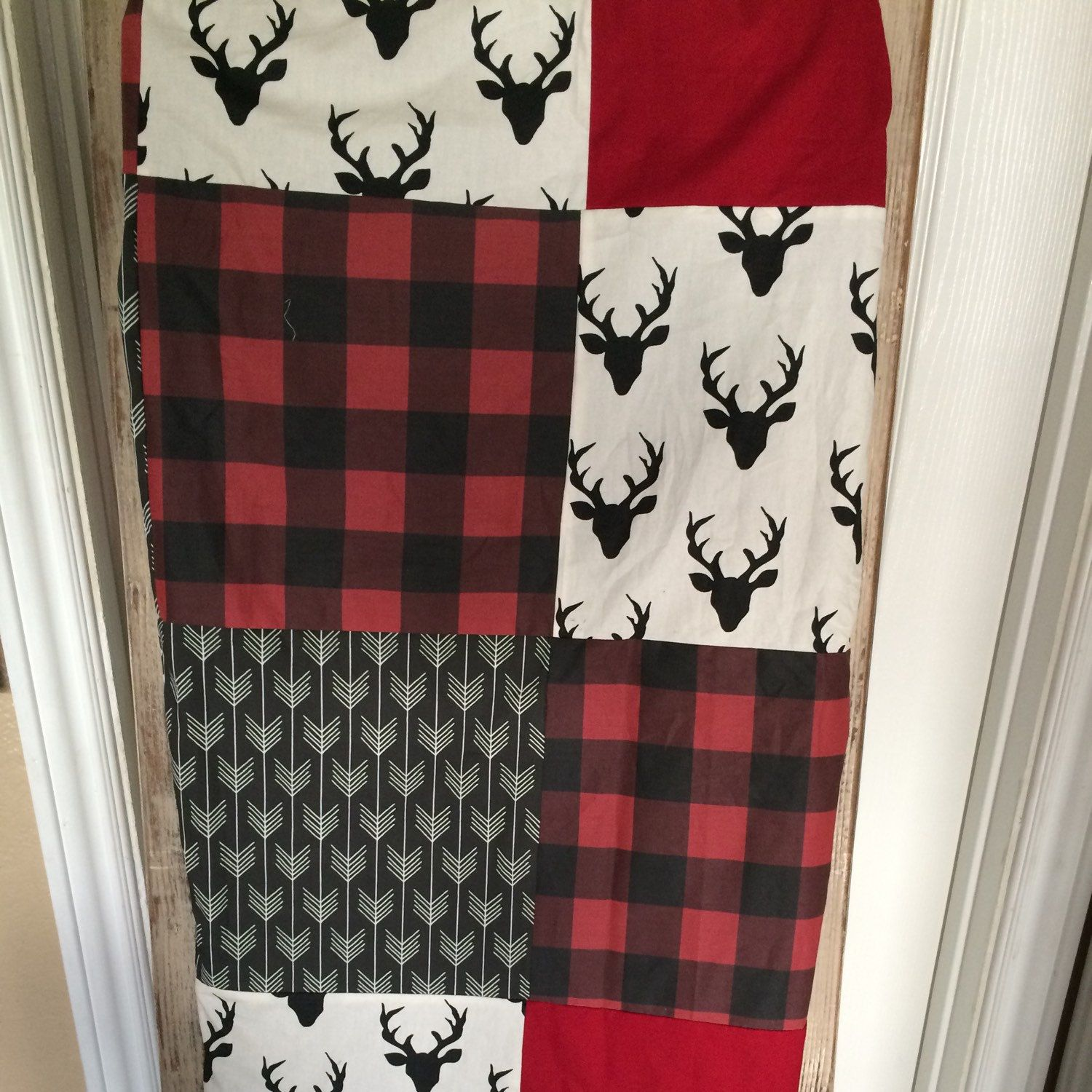 Custom Crib Bedding Deer Plaid Arrow in Red and Black