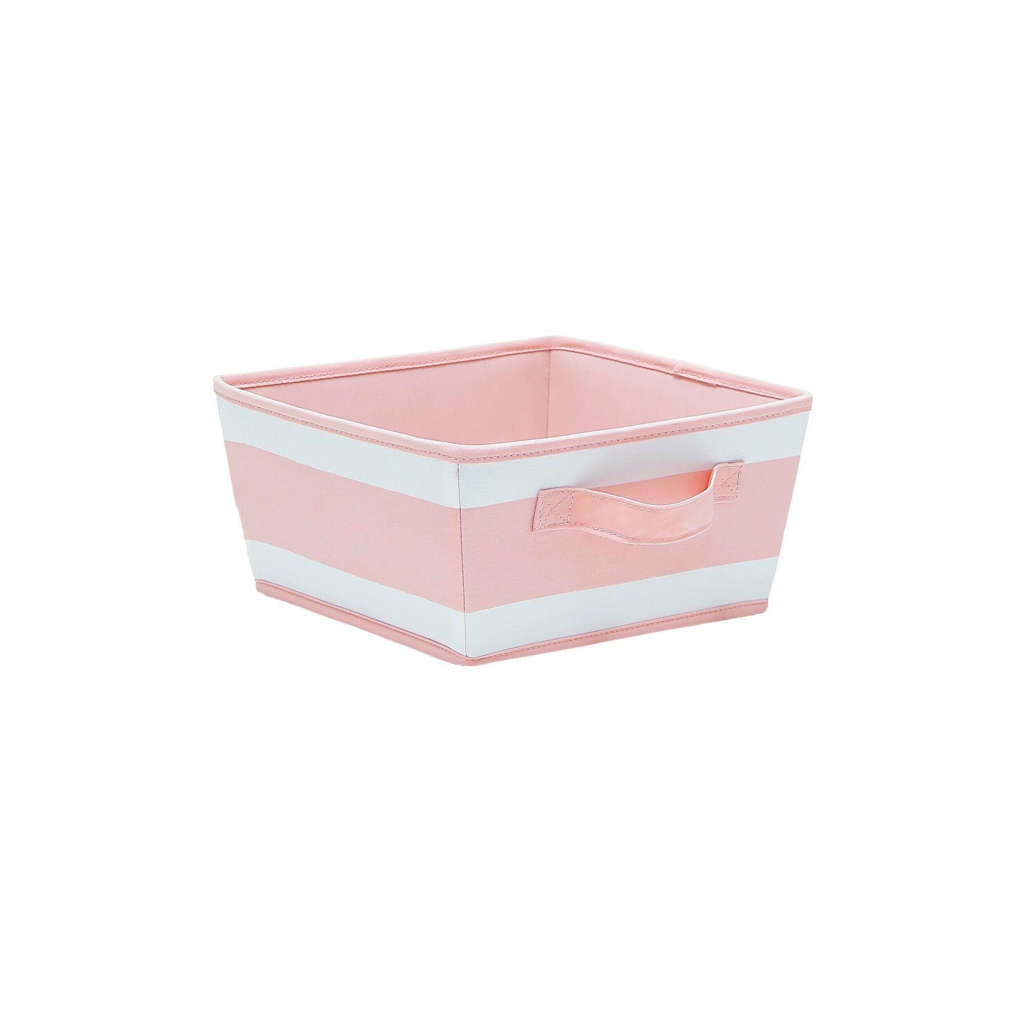 Small Striped Fabric Toy Storage Bin Pink - Pillowfort