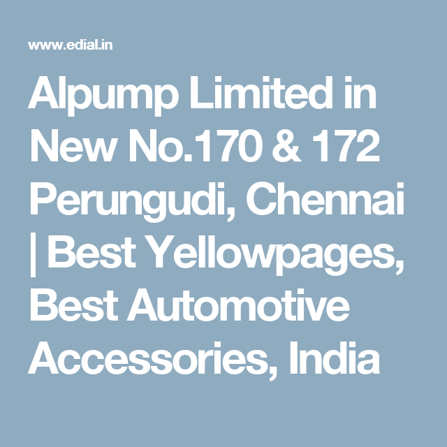 Alpump Limited in New No 170 & 172 Perungudi, Chennai   Best