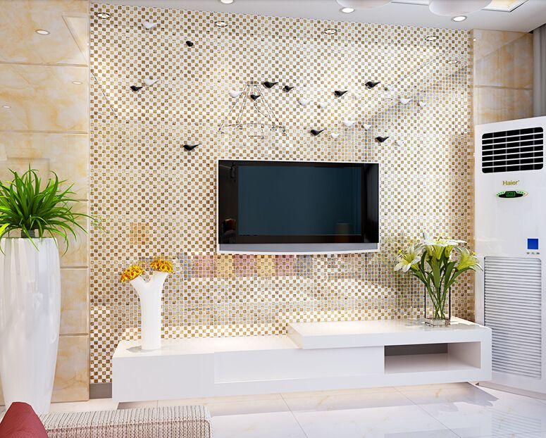 Gold Plated Crystal Glass Tile Mirror Wall Tile Washroom Wall Background Hall Backsplashes Klgt658 Mirror Wall Tiles Mirror Wall Mirror Tiles