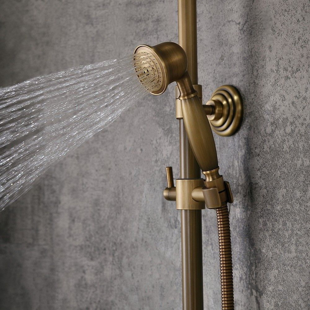 Classic Antique Brass Single Lever Exposed Rain Shower System With