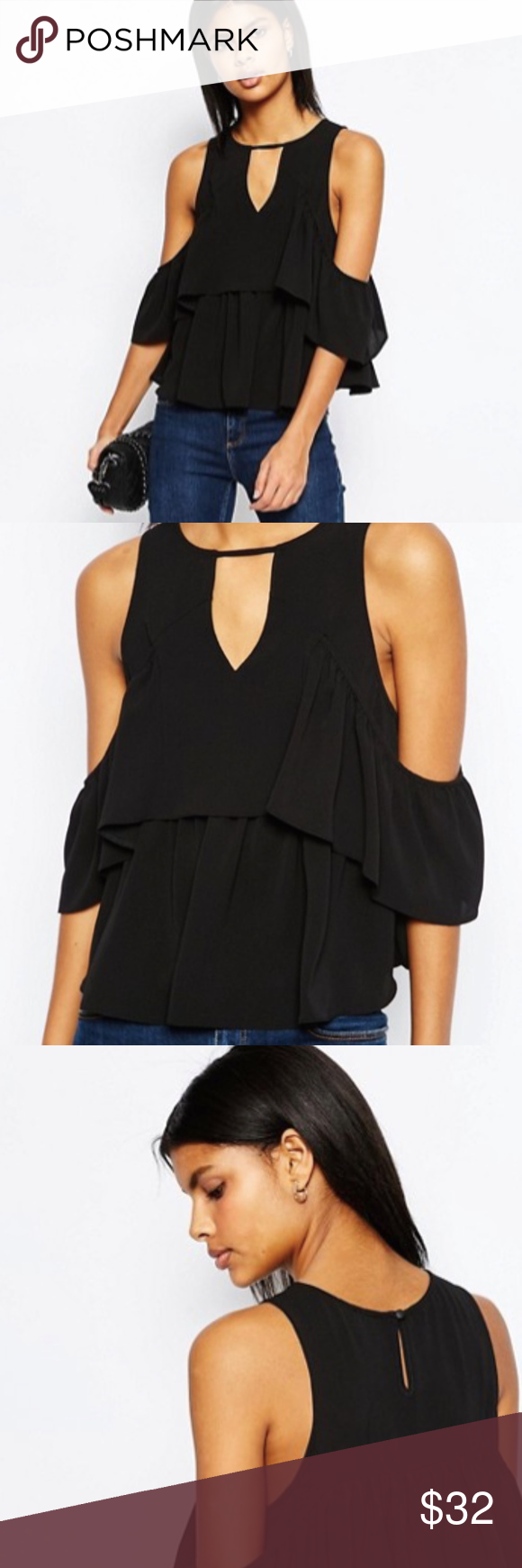 e42d8726f1ece NWT ASOS Tiered Black Cold Shoulder Top NWT is ASOS Black Tiered (two wide  ruffles around bottom half) Cold Shoulder top. Beautiful layering piece.