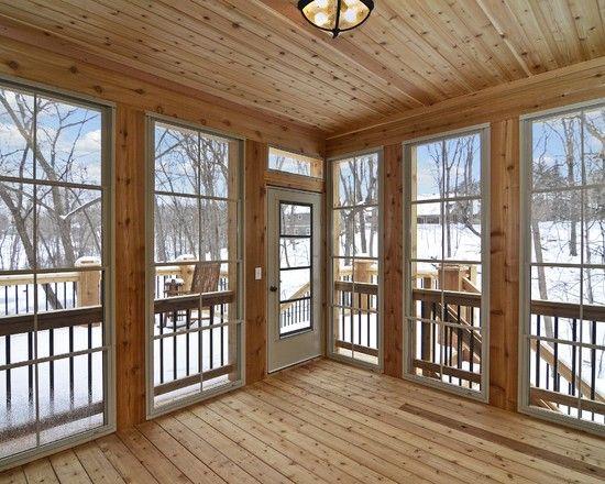 Pine Walls Design Lakehouse In 2019 Rustic Sunroom 3
