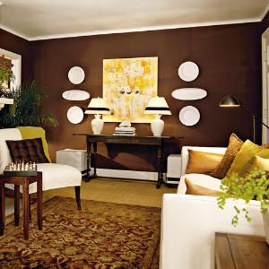 Chocolate Brown Living Room | Brown accent wall, Chocolate brown ...