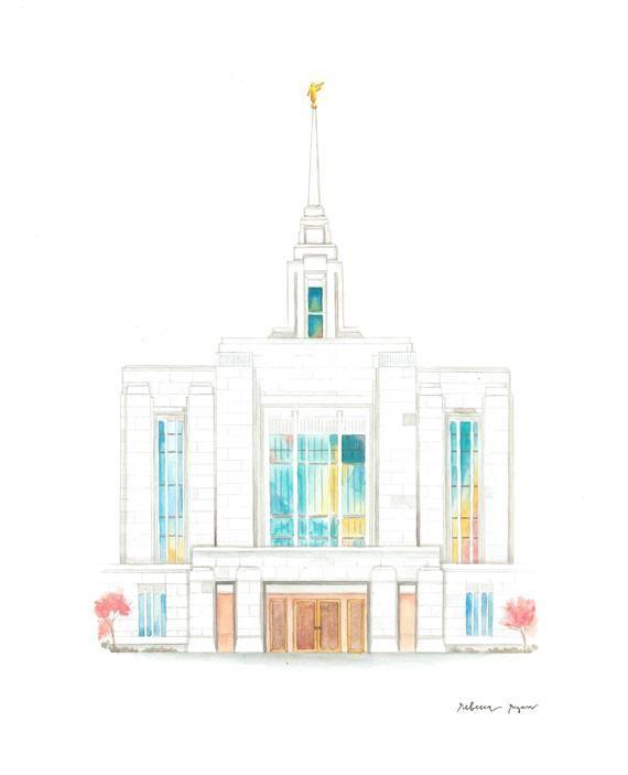 Ogden Utah Lds Temple Watercolor Painting Print Ogden Utah Lds