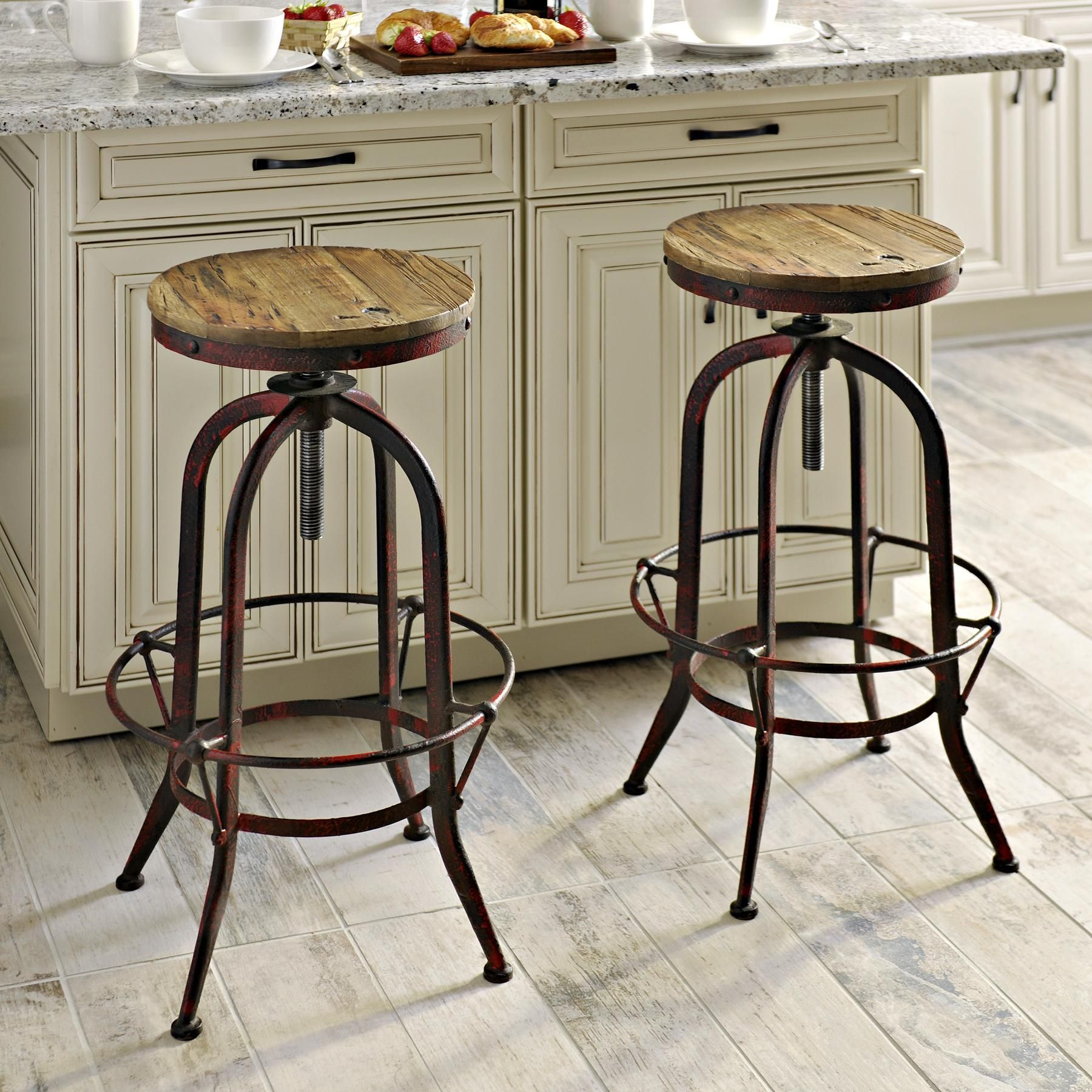 Industrial Red Bar Stool Farmhouse Style Bar Stools Kitchen