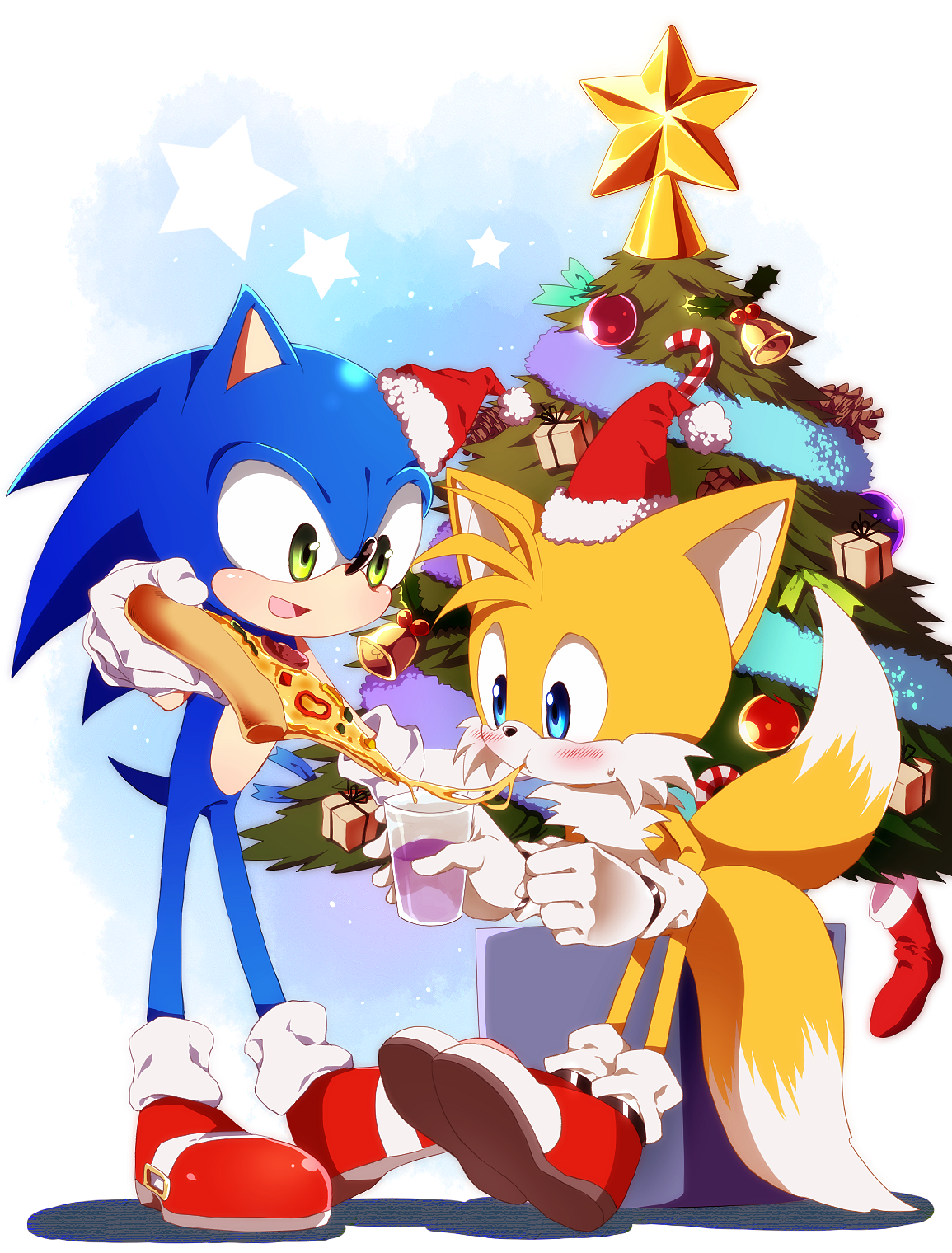 Sonic Christmas.Sonic And Tails Christmas Pizza Sonic The Hedgehog