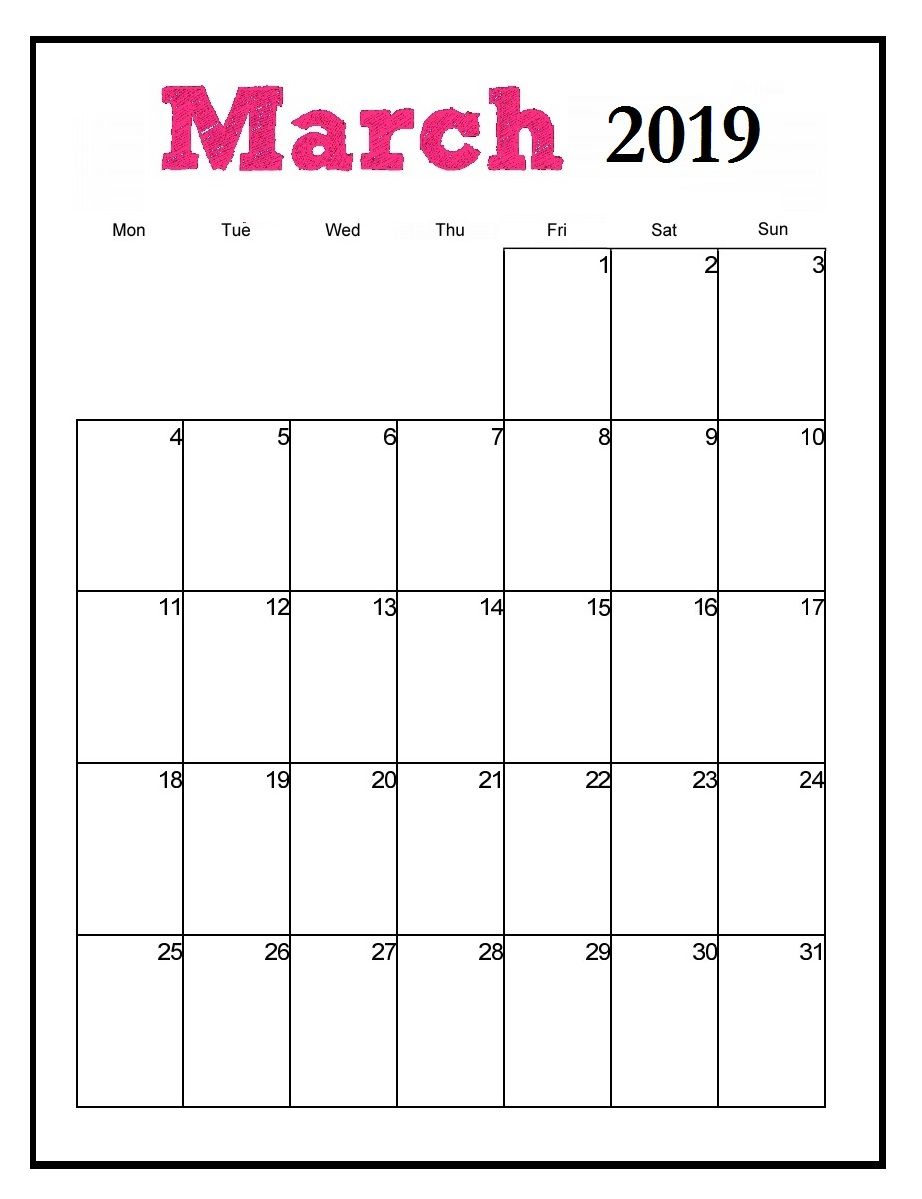Printable 2019 Vertical Monthly Calendar Monthly Calendar Template