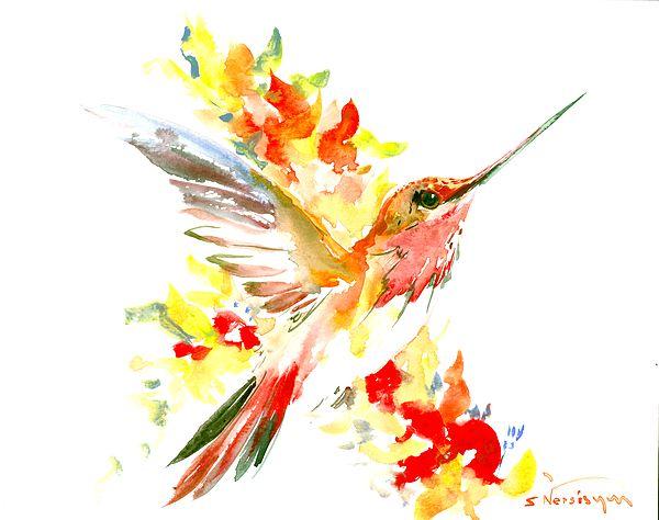 Humingbird, flame colors, ORange red yellow art, Warm colors, Hummingbird art, Red birds, red painting, Flying Hummingbird gift,