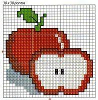 Apfel Vorlage - Appel pattern - ENCANTOS EM PONTO CRUZ