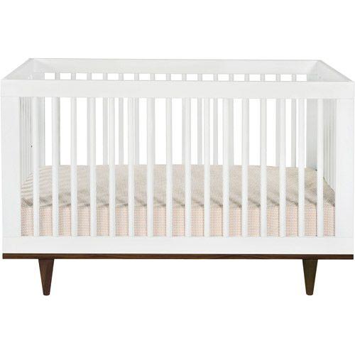 Baby Mod Marley Convertible Crib, White And Walnut: Nursery Furnitureu2026