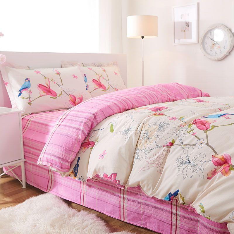 Rustic Flower Bird Bedding Set Teenage Girls,full Queen Cotton Cute Floral  Double Home Textile Pillowcase Duvet Cover Flat Sheet
