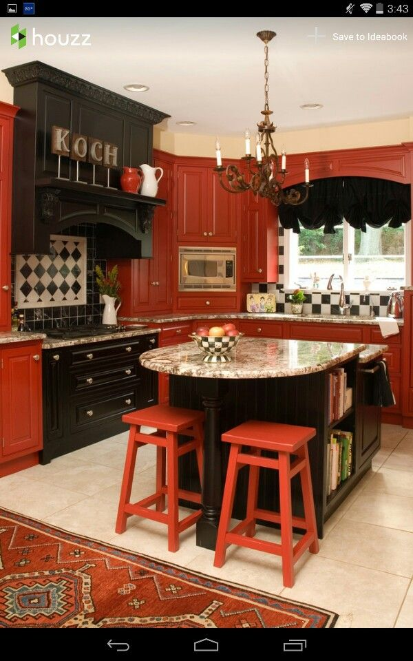 Pin By Cyndi Falletti On For The Home Red Kitchen Cabinets Red Kitchen Walls Black Kitchen Decor