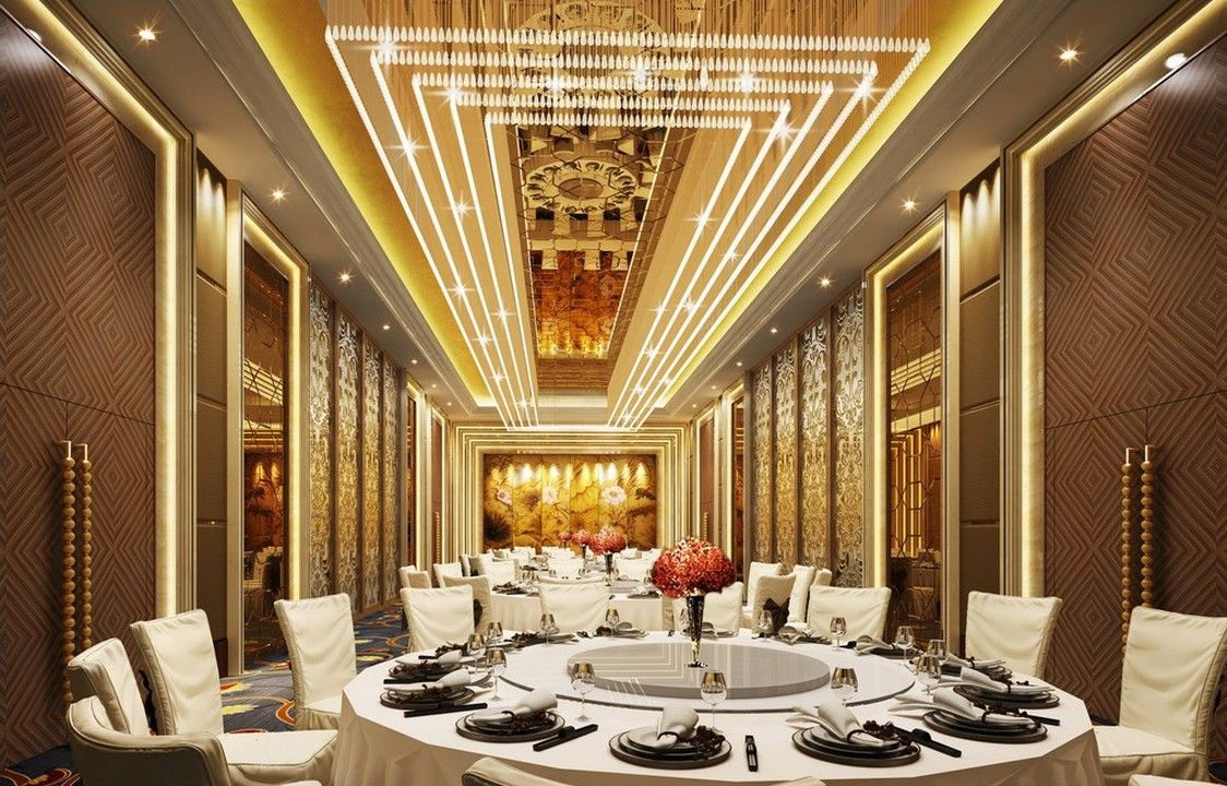 Party hall design google search ballroom pinterest for Dining hall wall design