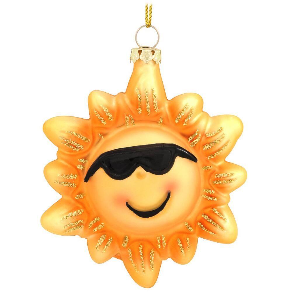 Sun With Sunglasses Glass Ornament $11.99