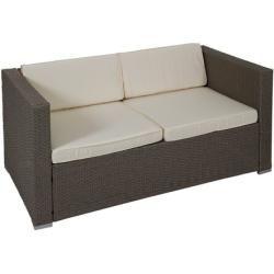 Photo of 4-Sitzer Lounge-Set Brett aus Polyrattan mit Polster