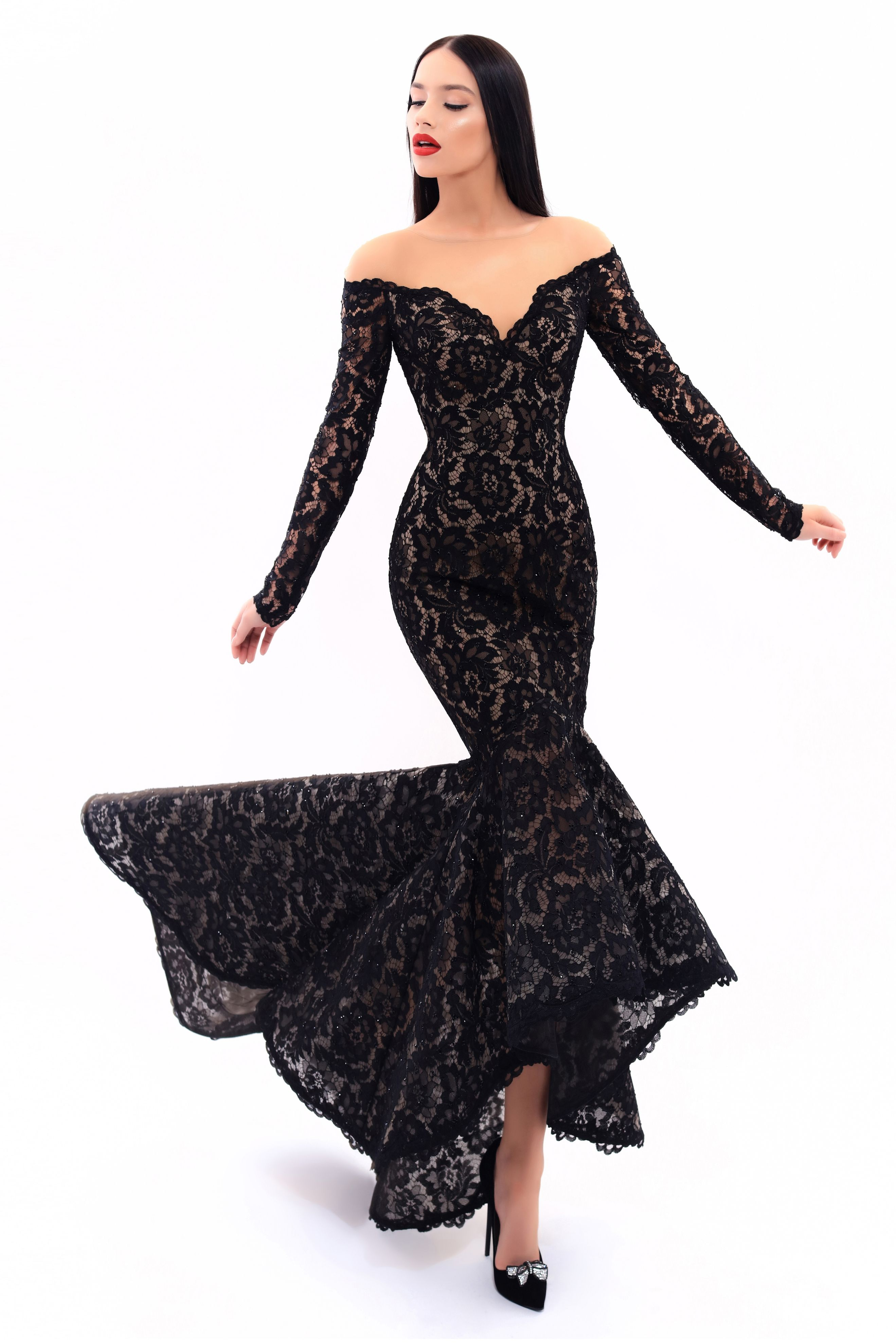 f99f308bb4b9 Tarik Ediz- MIRACLE Collection 2017 Fall/Winter Style #93310 Long Black  Lace Evening Gown. Also available in Navy and Red.