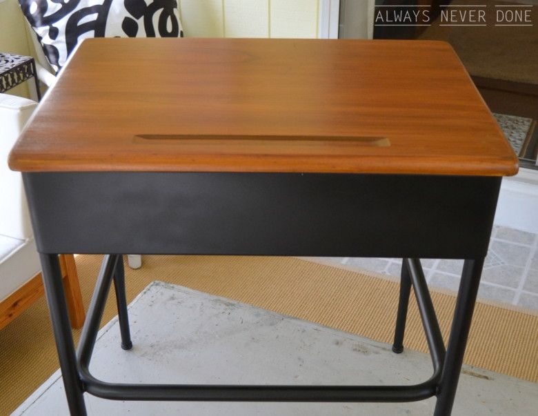 school desk refurbished from a rusted piece of junk via always never done