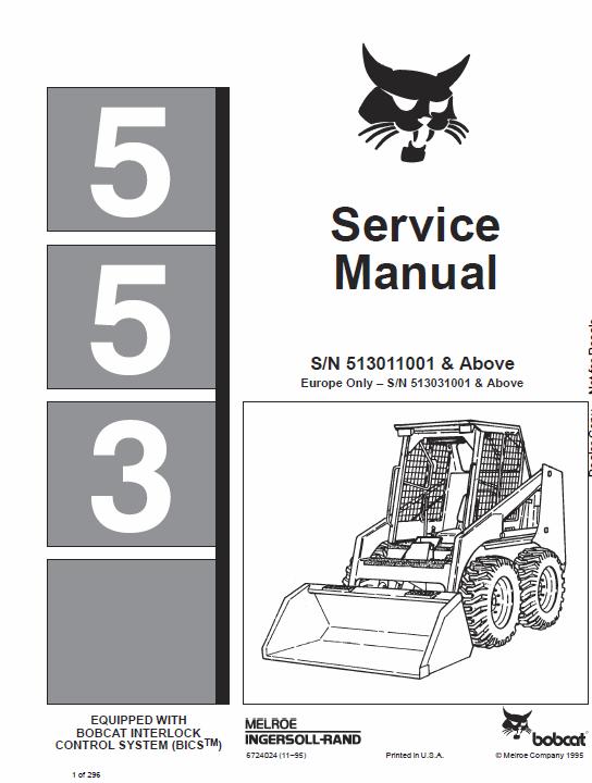 Bobcat 553 Skid Steer Loader Service Manual Skid Steer Loader Bobcat Manual