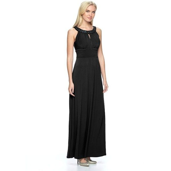 Women's Chaya Embellished Pleated Evening Gown ($91) ❤ liked on Polyvore  featuring dresses,