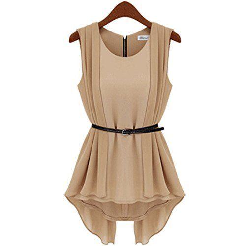 Damen Khaki Chiffonkleid U-Ausschnitt Sommerkleid Vers ...