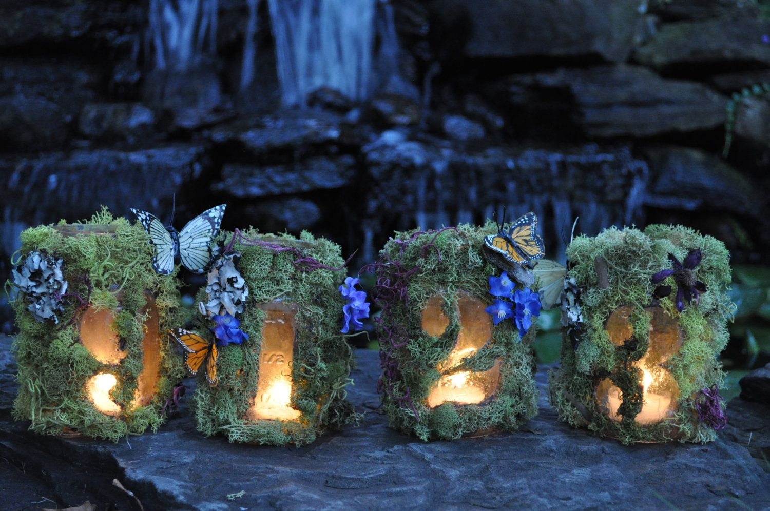 Viking wedding decorations  Hanging fantasy garden woodland wedding table number luminaries