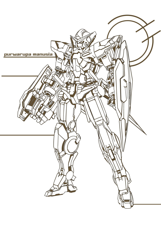 Gundam Lineart Detailing By Penjol On Deviantart Gundam Wallpapers Gundam Robot Art