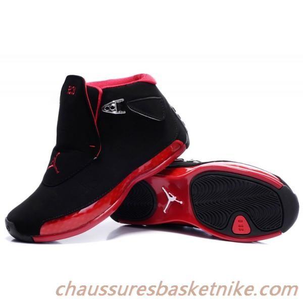 nouveau concept c5da0 e7a7e Air Jordan 18 Retro Chaussures Femmes Noir-Rouge pour la ...