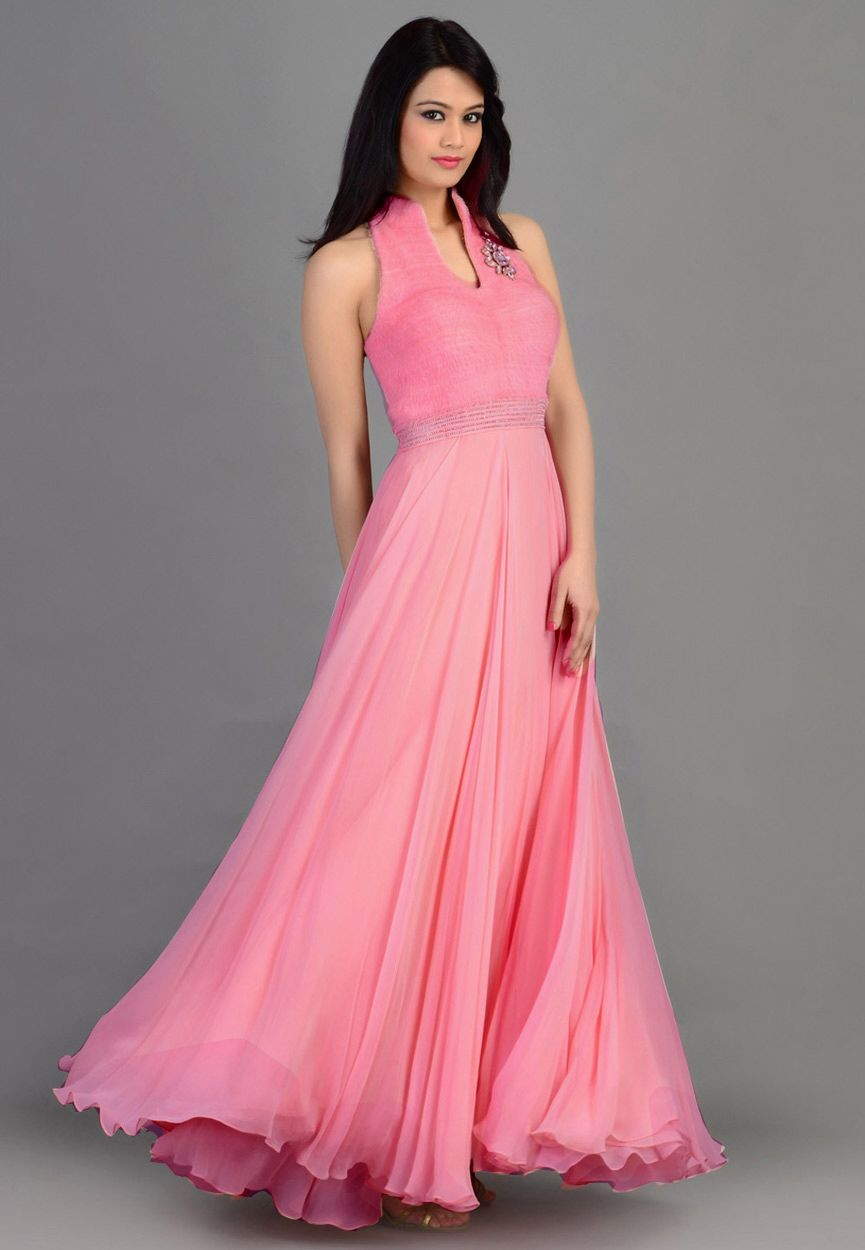 Beautiful Pink semi stitched evening gown | Evening gowns ...