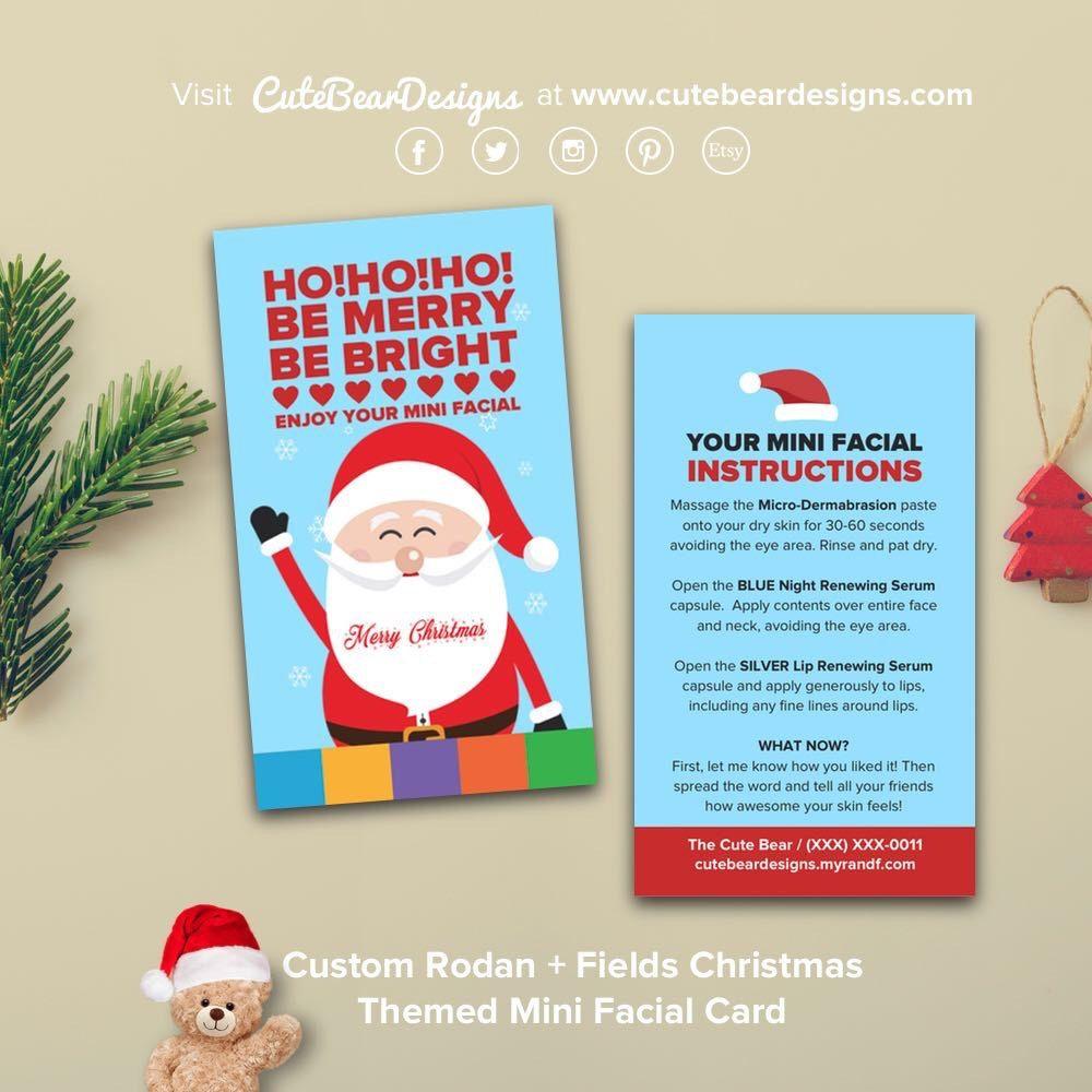 Custom Rodan + Fields Christmas Themed Mini Facial Card (Business ...