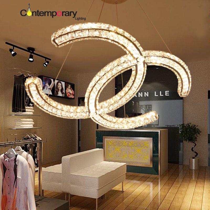 Stainless steel chrome C Design Crystal pendant Lamp Luminaire ...