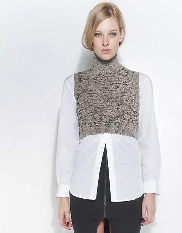 Cropped knit best, white shirt, black skirt
