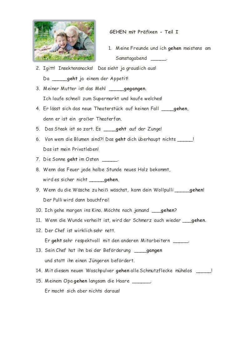 GEHEN mit Präfixen - Teil I Trennbare und nicht trennbare Verben mit ...