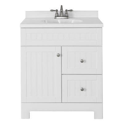 Style Selections Ellenbee White Integral 1 Bathroom Vanity ...