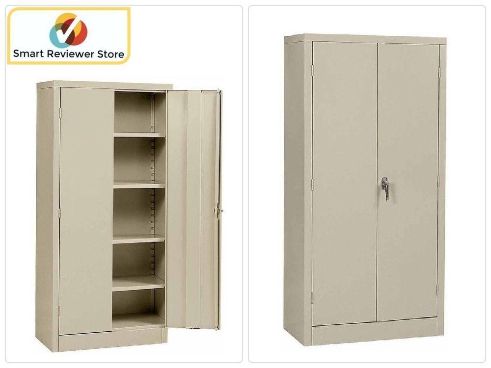 72 Tall Metal Storage Cabinet Steel Doors Locking With Lock Garage Shop Putty Edsal Metal Storage Cabinets Steel Cabinet Cabinet