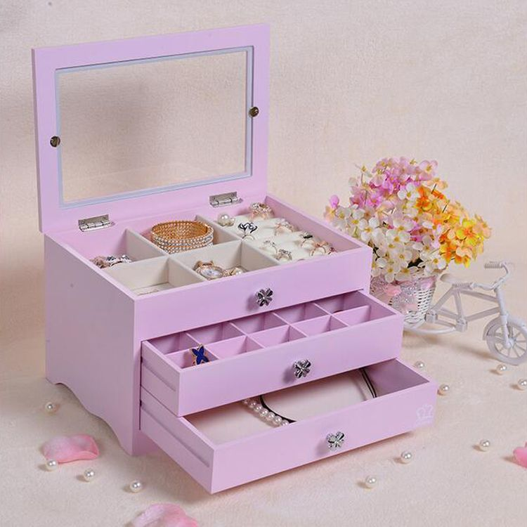Wood 3 Drawer Jewelry Box and Accessories Storage Box & Wood 3 Drawer Jewelry Box and Accessories Storage Box | Intelligible ...