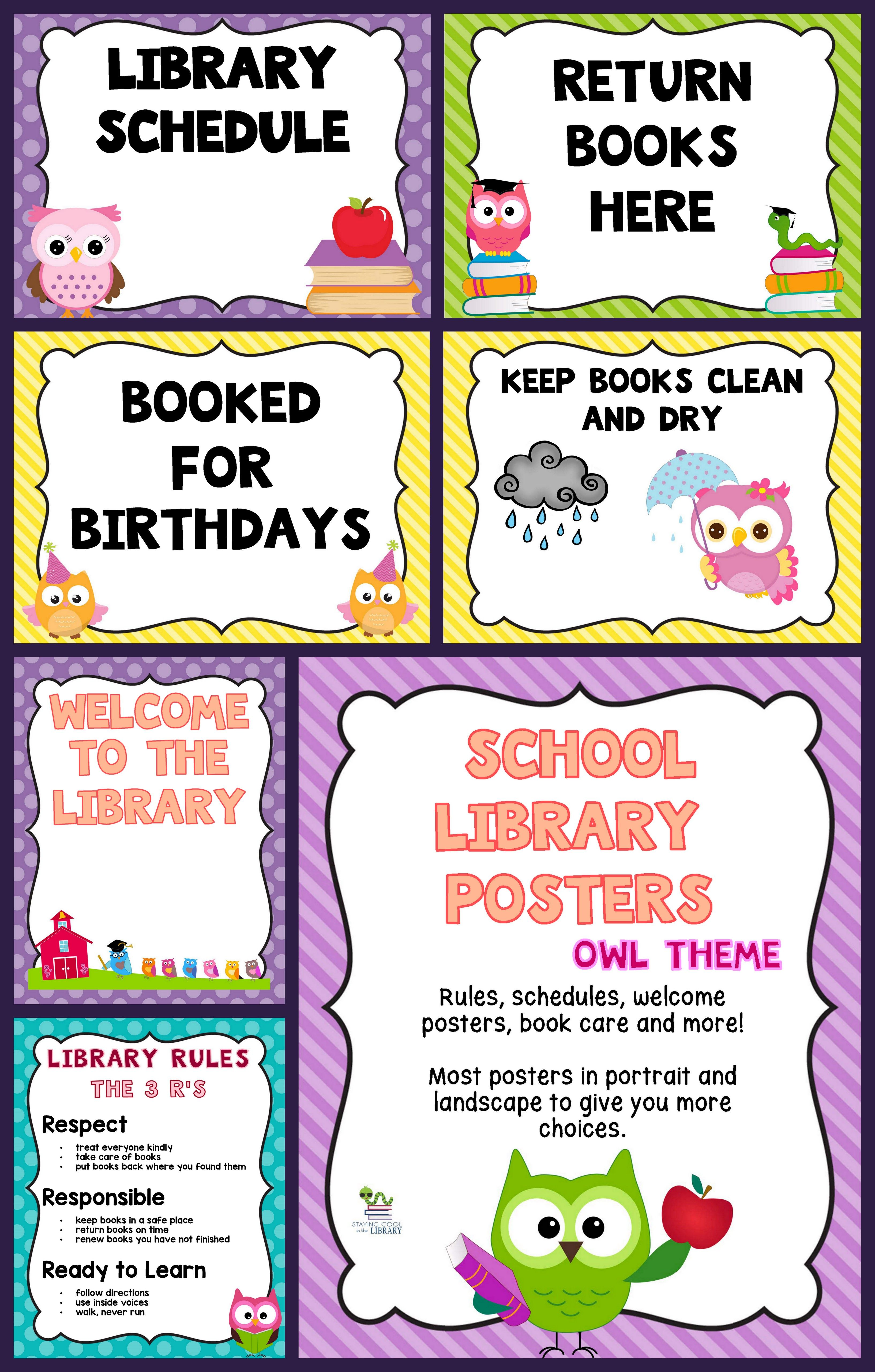 Owl Themed Library Poster Set Library Posters School Library Library Skills
